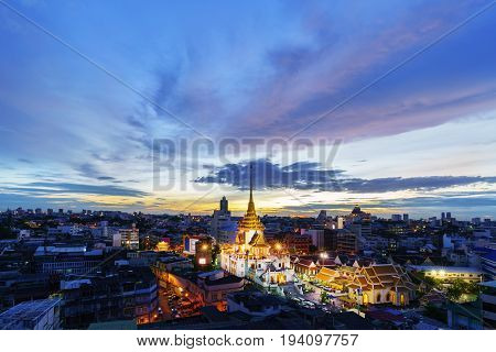 Cityscape of beautiful Wat Traimit or Temple of the Golden Buddha where the biggest solid golden Buddha statue is installed near the Chinatown Bangkok Thailand