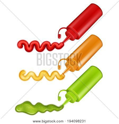 Set of colorful plastic bottles with pressed ketchup wasabi and mustard realistic vector illustration