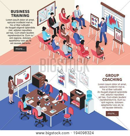 Business training and group coaching  isometric horizontal banners with mentor conducting training and learning of employees vector illustration
