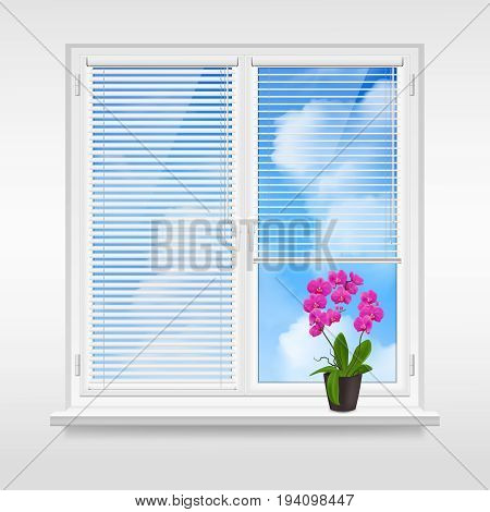 Home window design concept with horizontal blinds and purple flower in pot on windowsill at blue sky background vector illustration