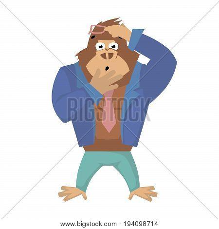 Surprised gorilla. Vector illustration of business Gorilla Cartoon.