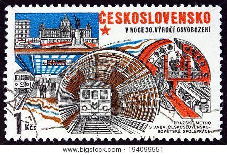 CZECHOSLOVAKIA - CIRCA 1975: a stamp printed in Czechoslovakia shows Construction of Prague Subway circa 1975