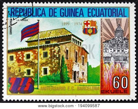 EQUATORIAL GUINEA - CIRCA 1974: a stamp printed in Equatorial Guinea dedicated to Barcelona Soccer Team 75th Anniversary circa 1974