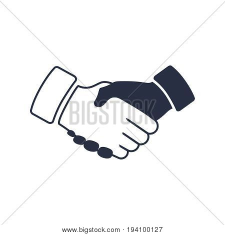 shaking hands icon. black icon handshake. background for business and finance. Business deal concept. Contract agree symbol