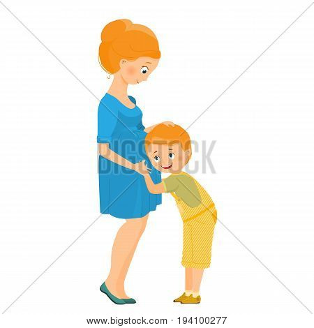 Son listens to the belly of a pregnant mother.Isolated on white background. Cartoon style.Vector illustration.