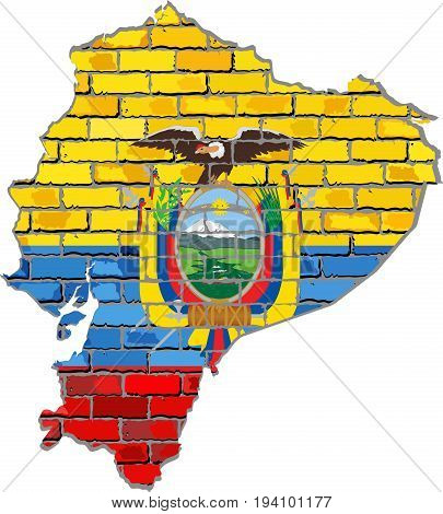 Ecuador map on a brick wall - Illustration,   Ecuador map with flag inside