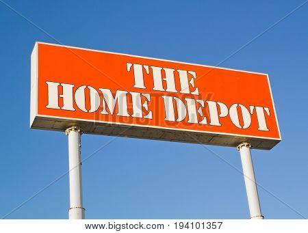 DARTMOUTH CANADA - JULY 06 2017: Home Depot sign. The Home Depot is a home improvement retailer. It operates retail stores across the United States all provinces of Canada and in Mexico.