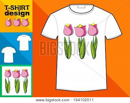 Template T-shirt with an trendy design: Flowers of tulips.