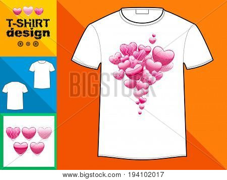 Template T-shirt with an trendy design: Hearts with of pink patterns