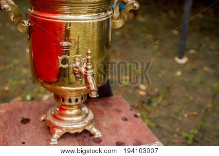 decorated russian traditional samovar, russian national tea ceremony