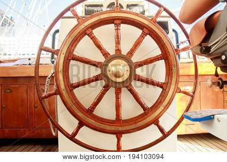 Old boat steering wheel from wood