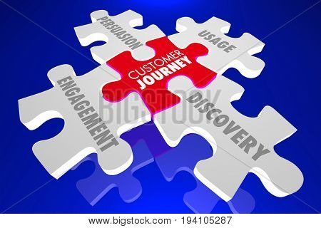 Customer Journey Discovery Engagement Puzzle 3d Illustration