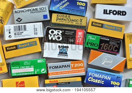 NACHOD, CZECH REPUBLIC - FEBRUARY15, 2017: Various vintage negative films in boxes, equipment for analogue medium format cameras