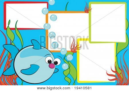 Kid scrapbook with a fish end air bubbles - Photo frames for children