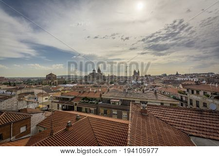 Salamanca Cityscape, With The Cathedral, The Pontifical University And Dominican Monastery Of San Es