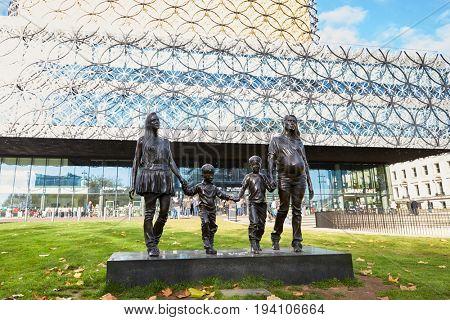 Birmingham, UK - 6 November 2016: Gillian Wearing Statue Outside The Library Of Birmingham