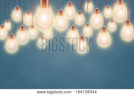 Many light bubls are lighting as electricity or idea concept (3D Rendering)