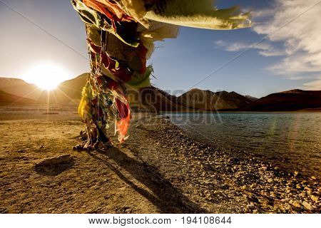 Tibetan prayer flags at Pangong Tso Tibetan for