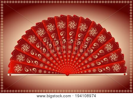 Red folding fan Japanese style for design