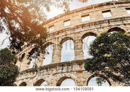 roman amphitheatre arena in pula croatia. europe