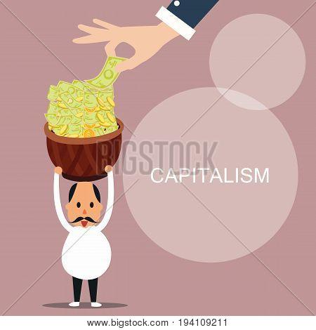 capitalism man bring lot of money capital concept vector