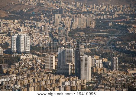 Aerial view of skyline building and urban street in Tehran capital city of Iran