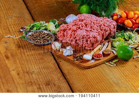 Raw Ground Beef Meat Burger Steak Cutlets With Seasoning, Tomatoes,