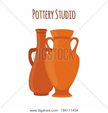 Pottery studio label, logo with vases, jars, amphoras. Ceramic, clay. Made in cartoon flat style. Vector illustration