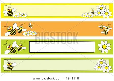 Web banner set with a bee and white daisies for children - Label useful