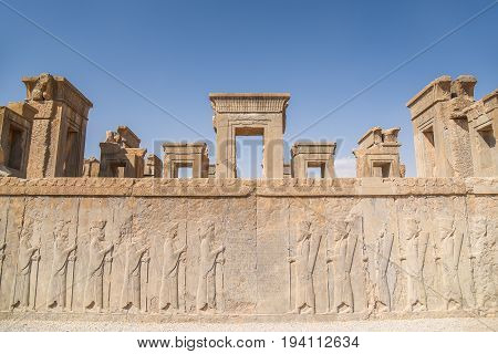 Ruins gate and mural of Persepolis (UNESCO World heritage sites) ancient Persian city and the ceremonial capital of the Achaemenid Empire situated 60 km northeast of Shiraz in Fars Province Iran