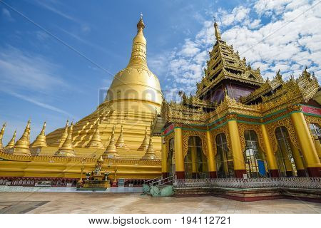 Shwemawdaw (Shwe Maw Daw) Pagoda or Mutao Pagoda the tallest pagoda and one of the most five holy places in Myanmar (Burma) famous destination in Bago