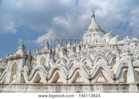 Hsinbyume (Myatheindan Pagoda) the large white pagoda on the northern side of Mingun in Sagaing Region near Mandalay Myanmar (Burma)