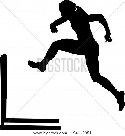 running hurdles woman runner athlete black silhouette