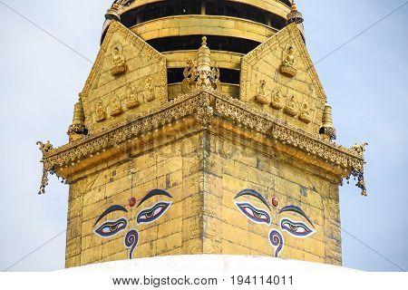 Buddha eyes (Wisdom Eyes of Buddha) on Swayambhunath Stupa in Kathmandu Nepal
