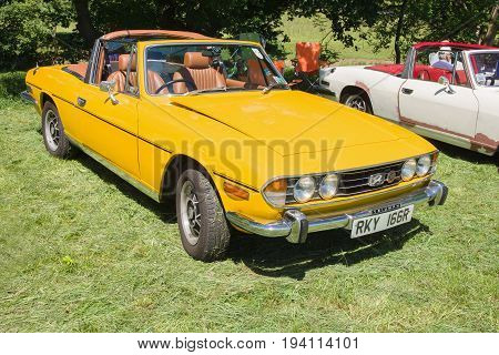 Llangollen Wales UK - July 1 2017: Triumph Stag convertible a classic British 2+2 sports tourer built from 1970 to 1978 at a vintage vehicle rally