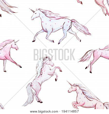 Beautiful vector seamless baby pattern with watercolor unicorn from fairy tale for children