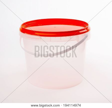 Plastic Container For Foodstuffs. Isolated On White Background.