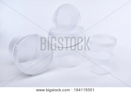 Group Of Transparent Plastic Containers Box Of Food Package On White Background