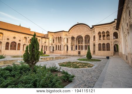 KASHAN IRAN - OCTOBER 20 2016 : Courtyard of the Tabatabaei House a historic house in Kashan Iran. It was built in early 1880s for the affluent Tabatabaei family.