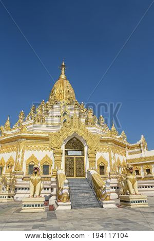 Buddha Tooth Relic Pagoda or Swe Taw Myat Pagoda beautiful Burmese temple and one of famous attraction in Yangon (Rangoon) Myanmar