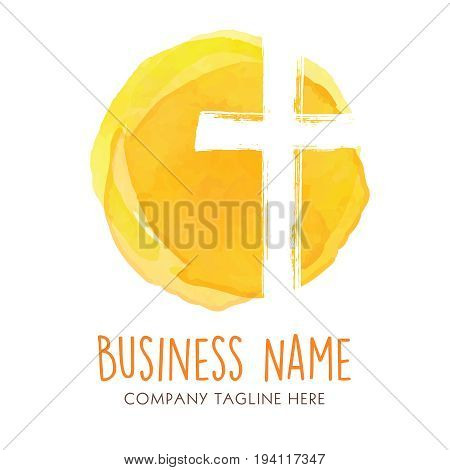 Company logo for a modern business with hand drawn brush shapes. Logo for a church, religious organization, or building.