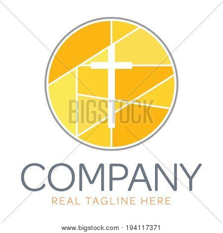 Company logo for a modern business with geometric shapes. Logo for a church, religious organization, or building.