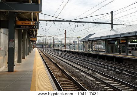 NEWARK, NEW JERSEY, USA - APRIL 25, 2016: At a platform of Newark Liberty International Airport train station