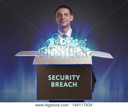 Business, Technology, Internet And Network Concept. Young Businessman Shows The Word: Security Breac