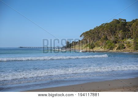 Beautiful sea coastline and blue sky summer landscape at Lorne beach near the Great Ocean Road Victoria Australia