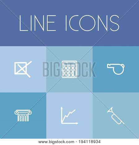 Set Of 6 Editable Education Icons. Includes Symbols Such As Pillar, Trumpet, Mark And More. Can Be Used For Web, Mobile, UI And Infographic Design.