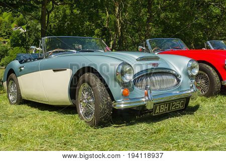 Llangollen Wales UK - July 1 2017: Austin Healey 3000 Mark 3 an iconic classic British sports car built from 1959 to 1967 at a vintage vehicle rally