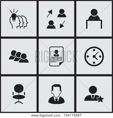 Set Of 9 Editable Business Icons. Includes Symbols Such As Publish, Work Man, Clock And More. Can Be Used For Web, Mobile, UI And Infographic Design.