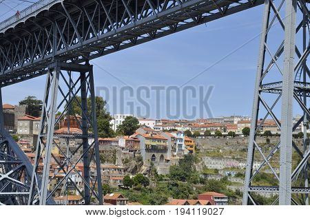 PORTO, PORTUGAL - AUGUST 7, 2015: View of the city of Porto from Gaia through of the Don Luis Bridge Portugal.