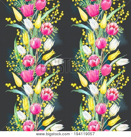 Beautiful seamless vector pattern with hand drawn watercolor mimosa and tulip flowers